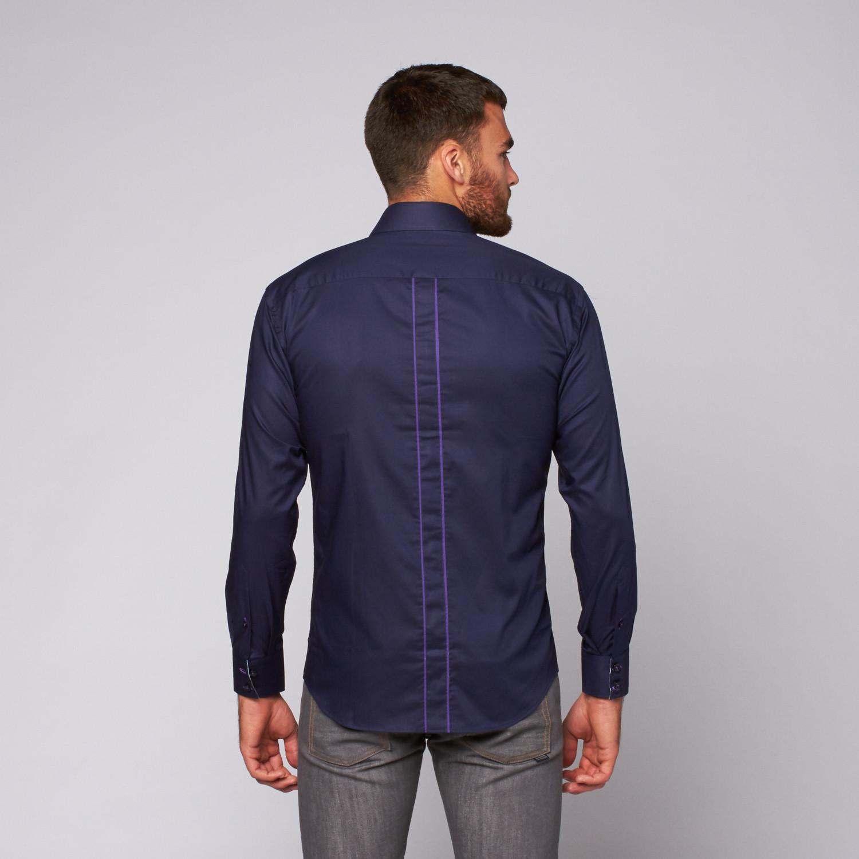 Lica Button Up Shirt Navy S Bertigo Touch Of Modern