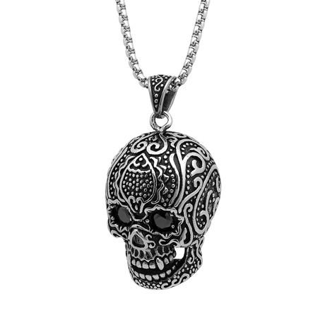 Gothic Skull Pendant // Silver