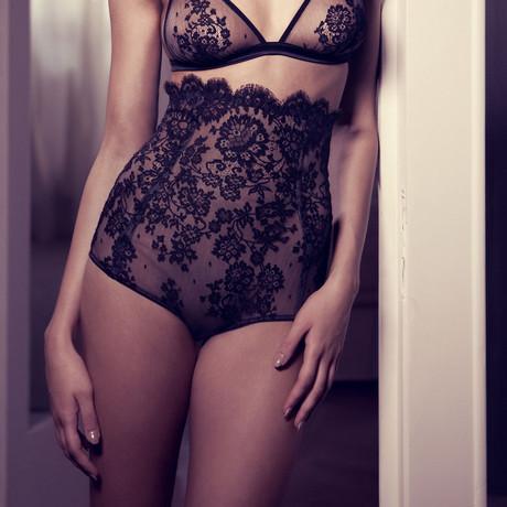 Sheer Floral Lace Maxi Brief // Black + Nude