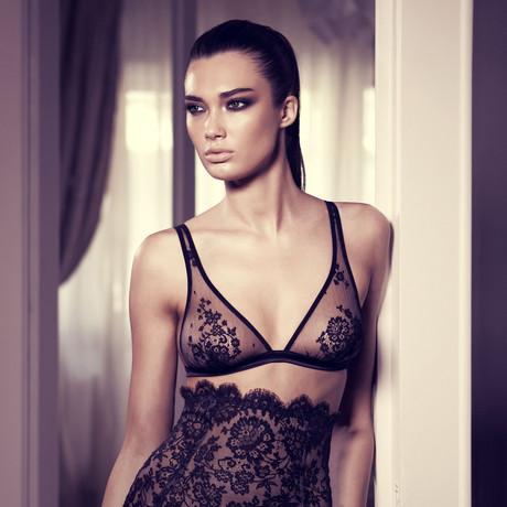 Sheer Floral Lace Soft Bra // Black + Nude