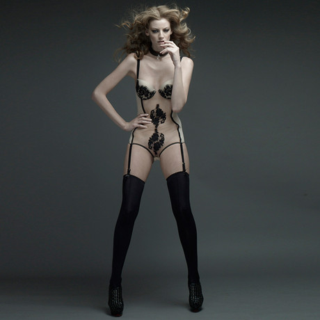 Padded Push Up Body Suit with Suspenders // Rose + Black (34C)