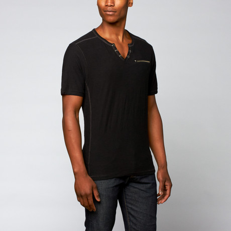 Snap Button Henley + Zipper Pocket // Black (S)