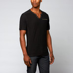 Snap Button Henley + Zipper Pocket // Black (L)