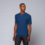 End on End Snap-Neck Henley // Blue (S)