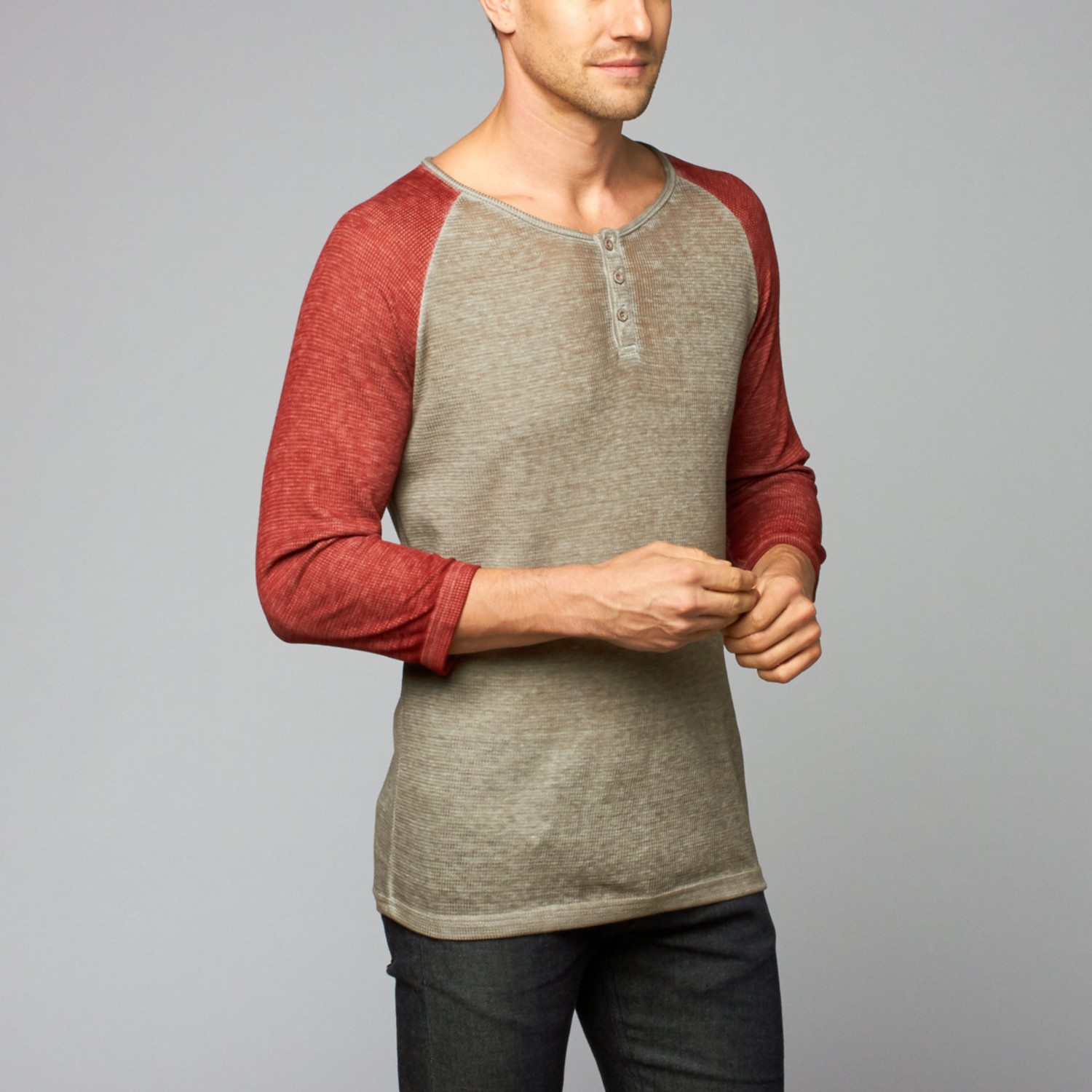3 4 Sleeve Waffle Henley Light Grey Red S Royal Knights Co