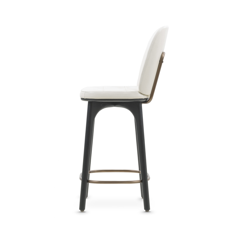 Utility Bar Stool With Backrest White Leather Medium