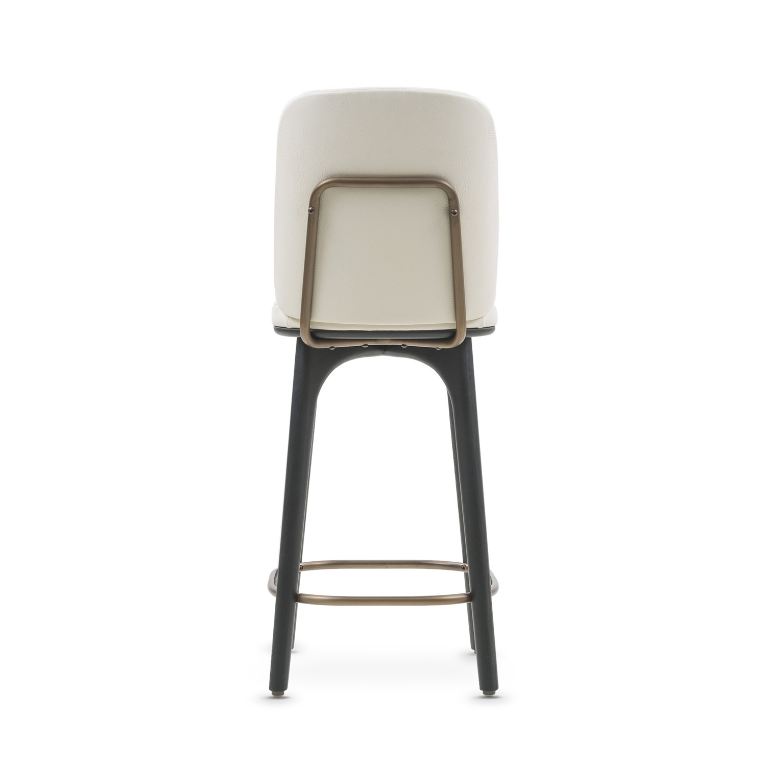 Utility Bar Stool With Backrest White Leather Medium