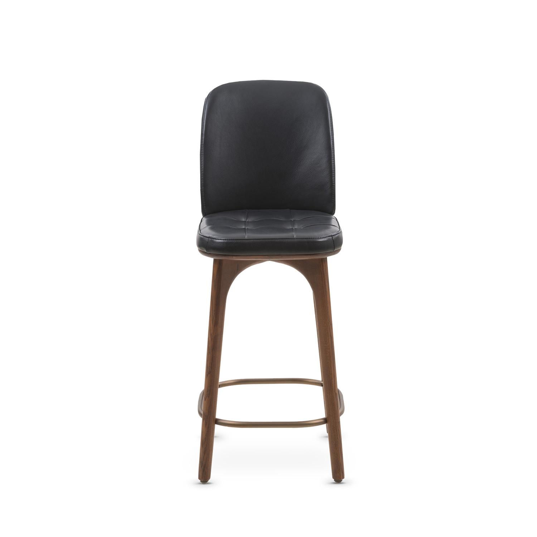 Utility Bar Stool With Backrest Black Leather Large