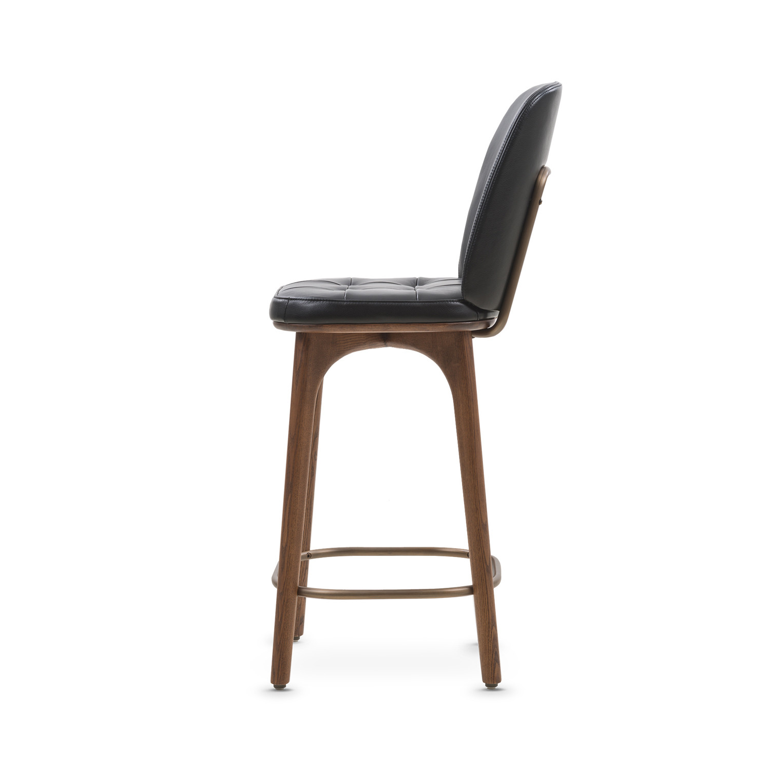 Utility Bar Stool With Backrest Black Leather Medium