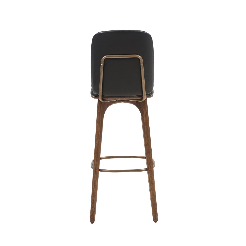 Utility Bar Stool With Backrest Black Leather Medium