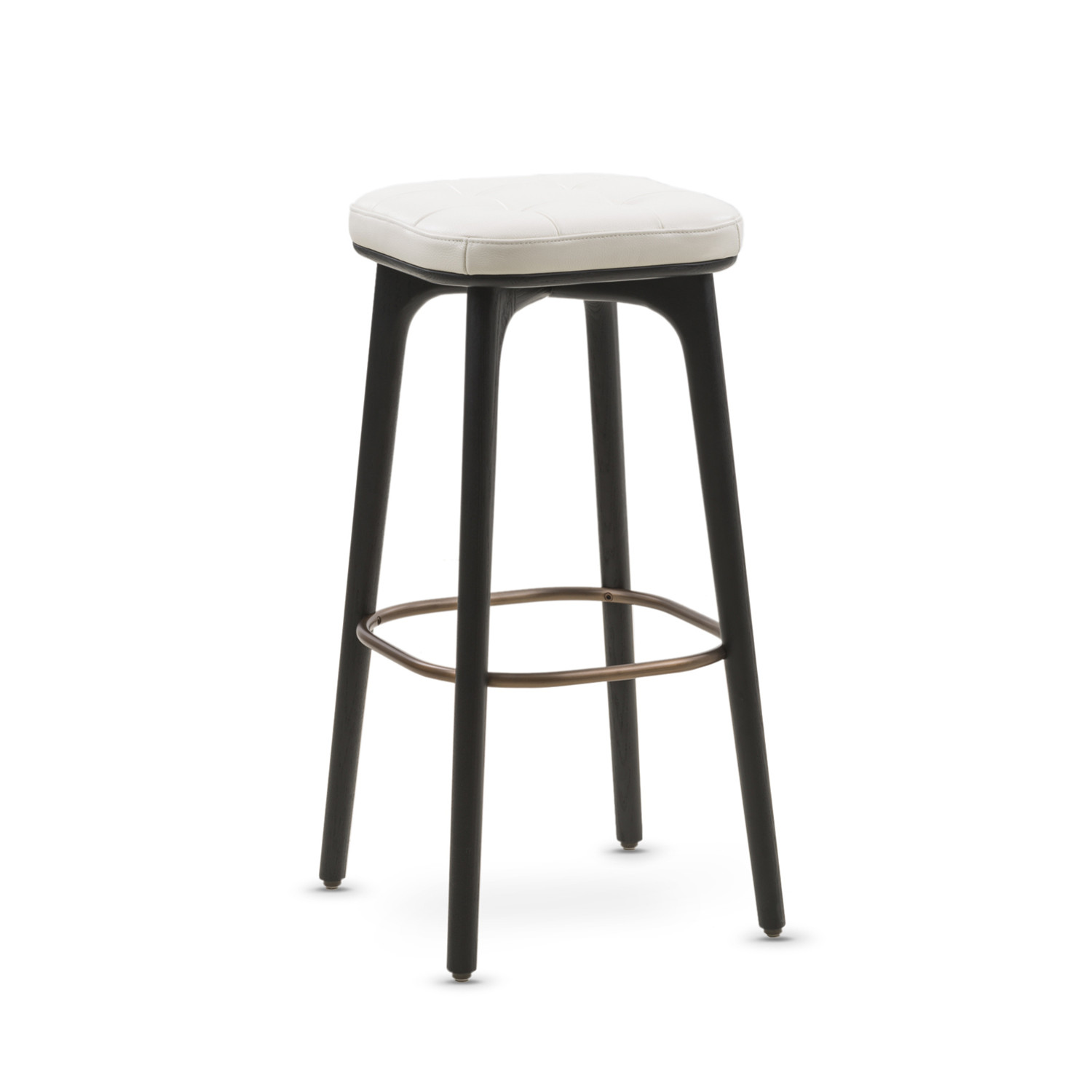 Utility Bar Stool White Leather Small Stellar Works