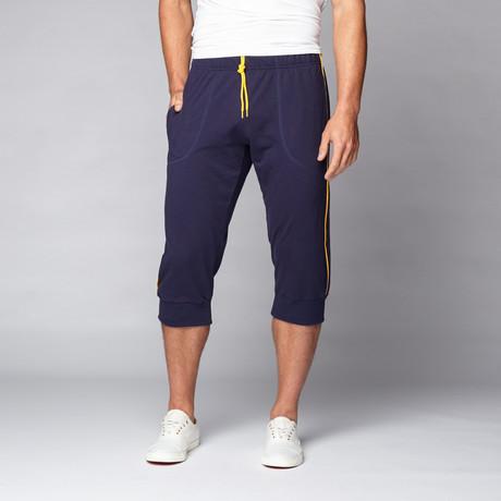 la wash cropped yoga pant // navy s  go softwear