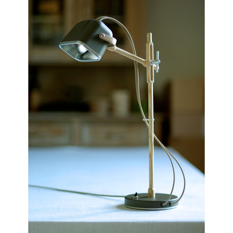 Mob Wood Table Lamp // Grey + Beige Cord