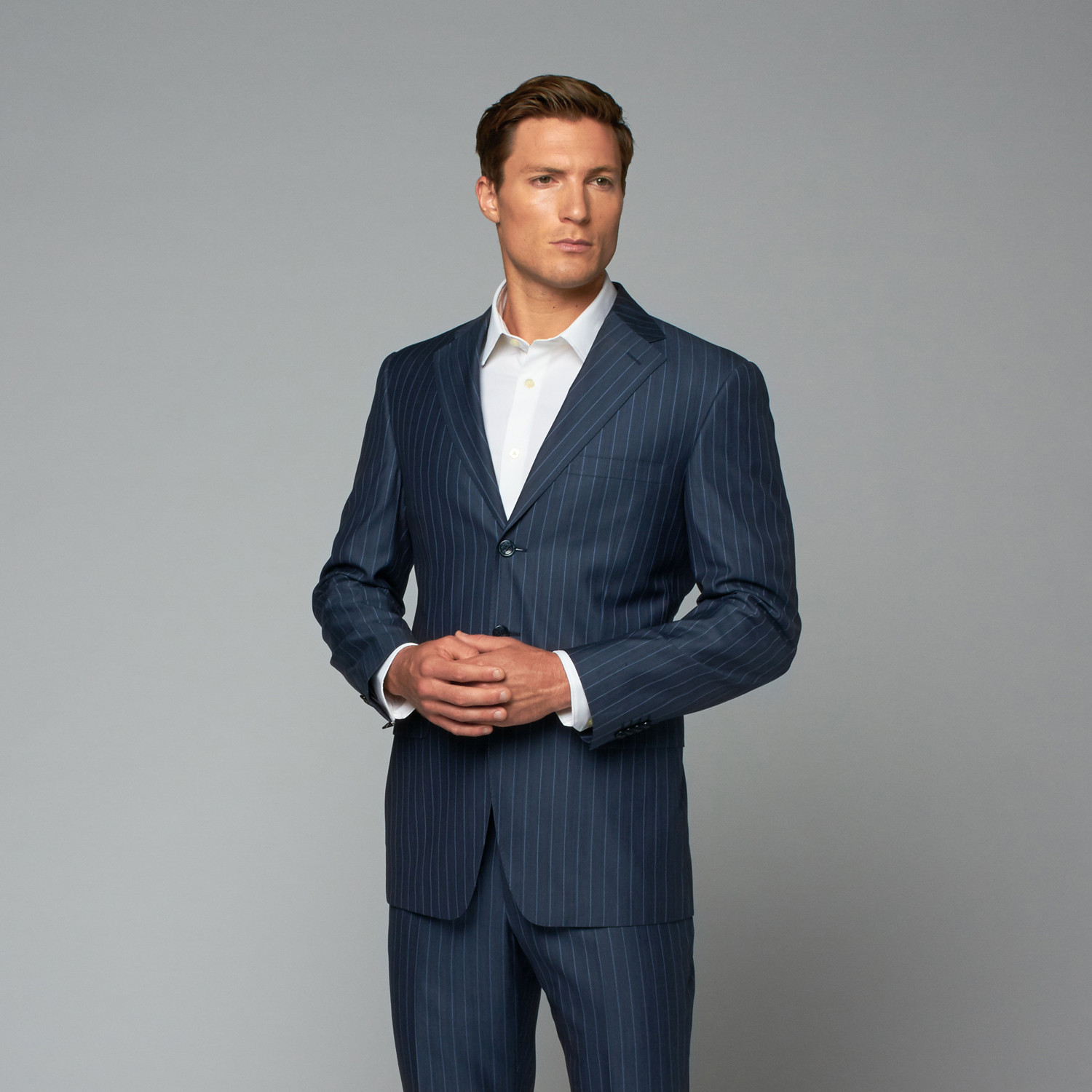 Two-Piece Suit // Blue Pinstripe (Euro: 54) - Versace Collection ...