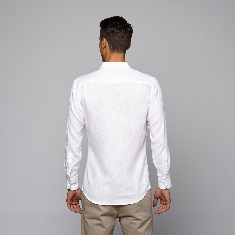 Linen long sleeve two pocket shirt white s mojito for Linen long sleeve shirt