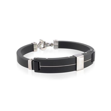 Stainless Steel Stripe Bracelet // Black + Silver (XS)