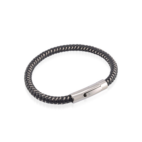Black Leather Stainless Steel Braided Bracelet