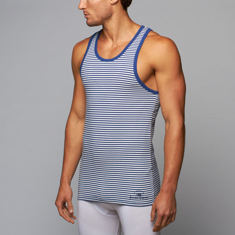 James Tudor // Regal Strip Tank // Blue + White (L)