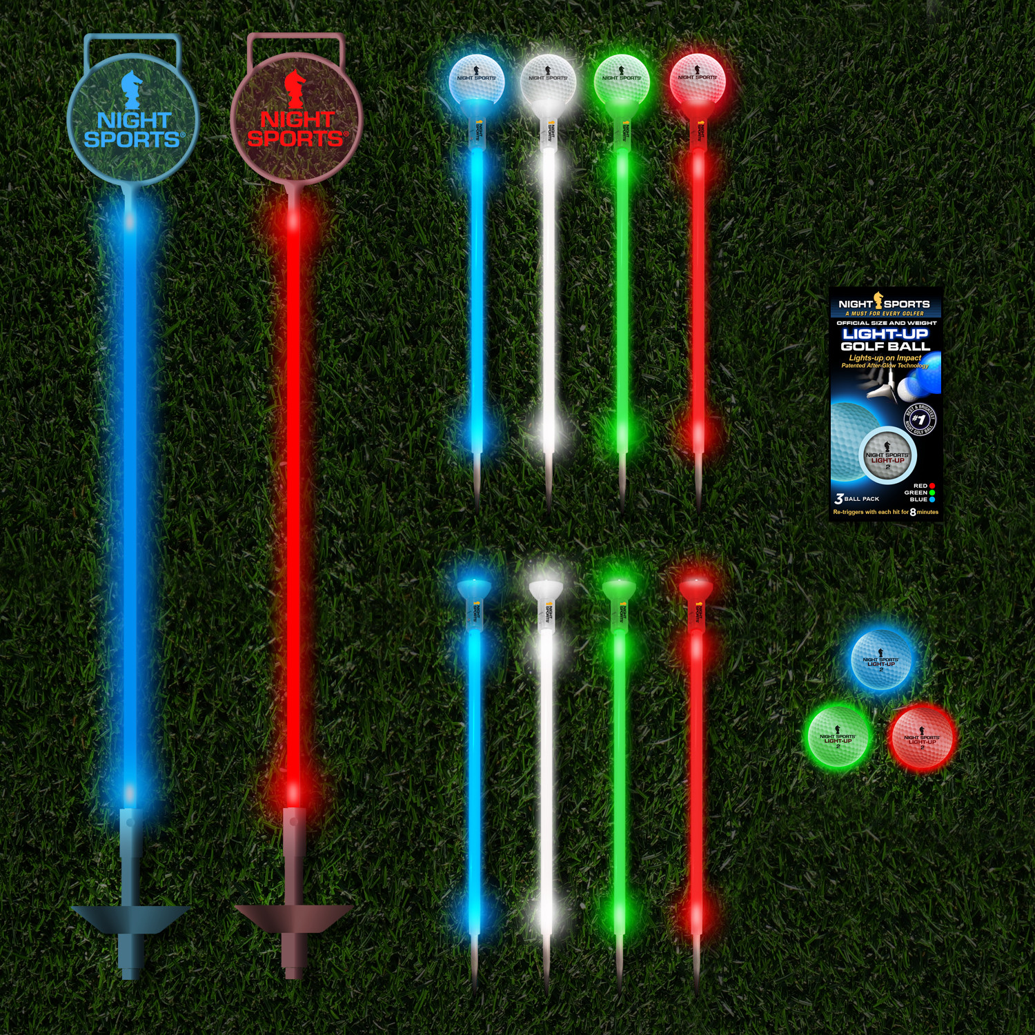 Exceptionnel Backyard Night Golf Set // 3 LED Balls + 24 LED Markers