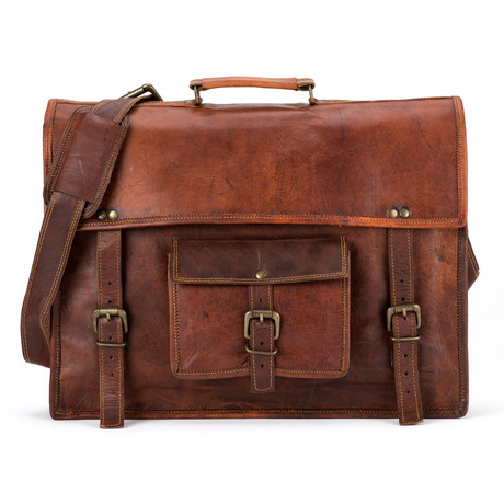 "Leather Pocket Satchel (13"" Laptop)"