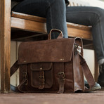 """Leather Briefcase // Brown (11""""W x 8""""H x 3""""D)"""