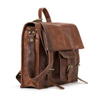 "Backpack Satchel // Horizontal // Brown (14.5""L x 11""W x 4""H)"