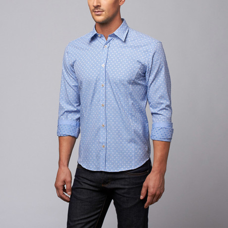 Slim Fit Button-Up Shirt // Blue Check (S)