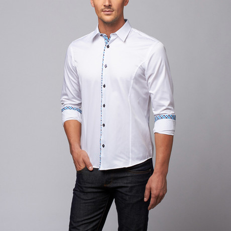 Slim Fit Button-Up Shirt + Plaid Trim // White (S)