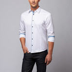 Slim Fit Button-Up Shirt + Plaid Trim // White (XL)
