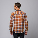 Slim Fit Button-Up Shirt // Brown + Navy Plaid (S)