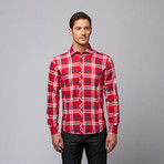 Plaid Button-Up Shirt + Floral Trim // Red + Navy (XL)