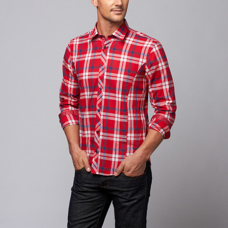 Plaid Button-Up Shirt + Floral Trim // Red + Navy (S)