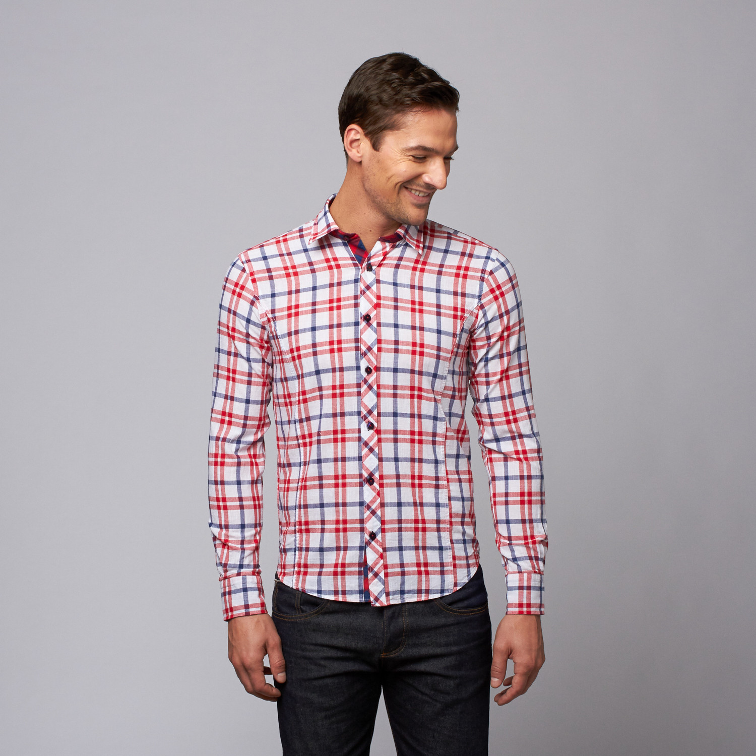 Slim fit button up shirt red navy m apparel for Navy slim fit shirt