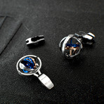 Gyro Cufflinks + Clip // W Motor Blue + Red Gold