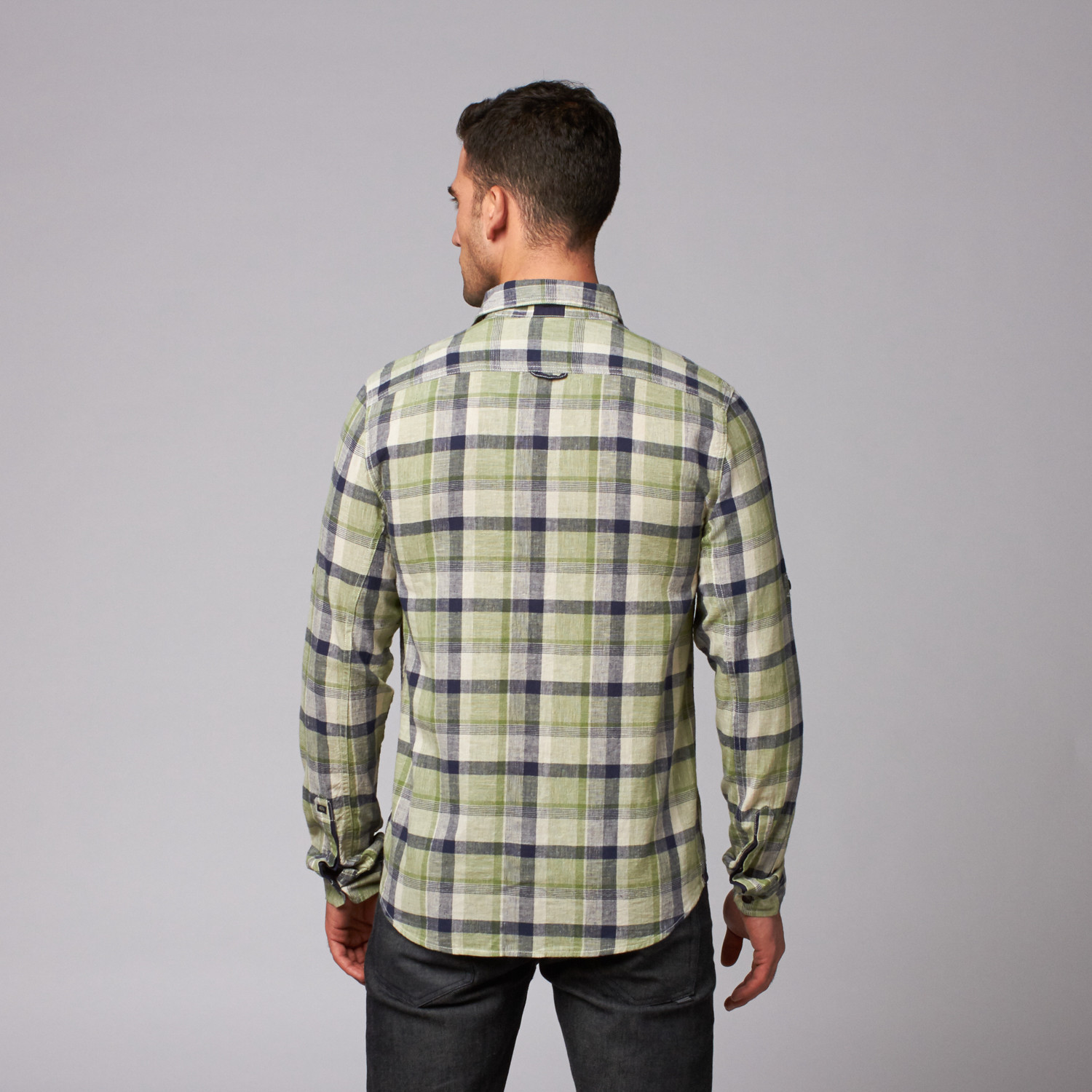 Sault Button Down Shirt Green Plaid S Buffalo