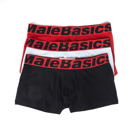 Trunk Boxer Shorts // 3-Pack // Black + White + Red (S)
