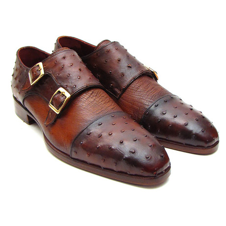 Genuine Ostrich Double Monkstrap // Brown + Tobacco (Euro: 38)