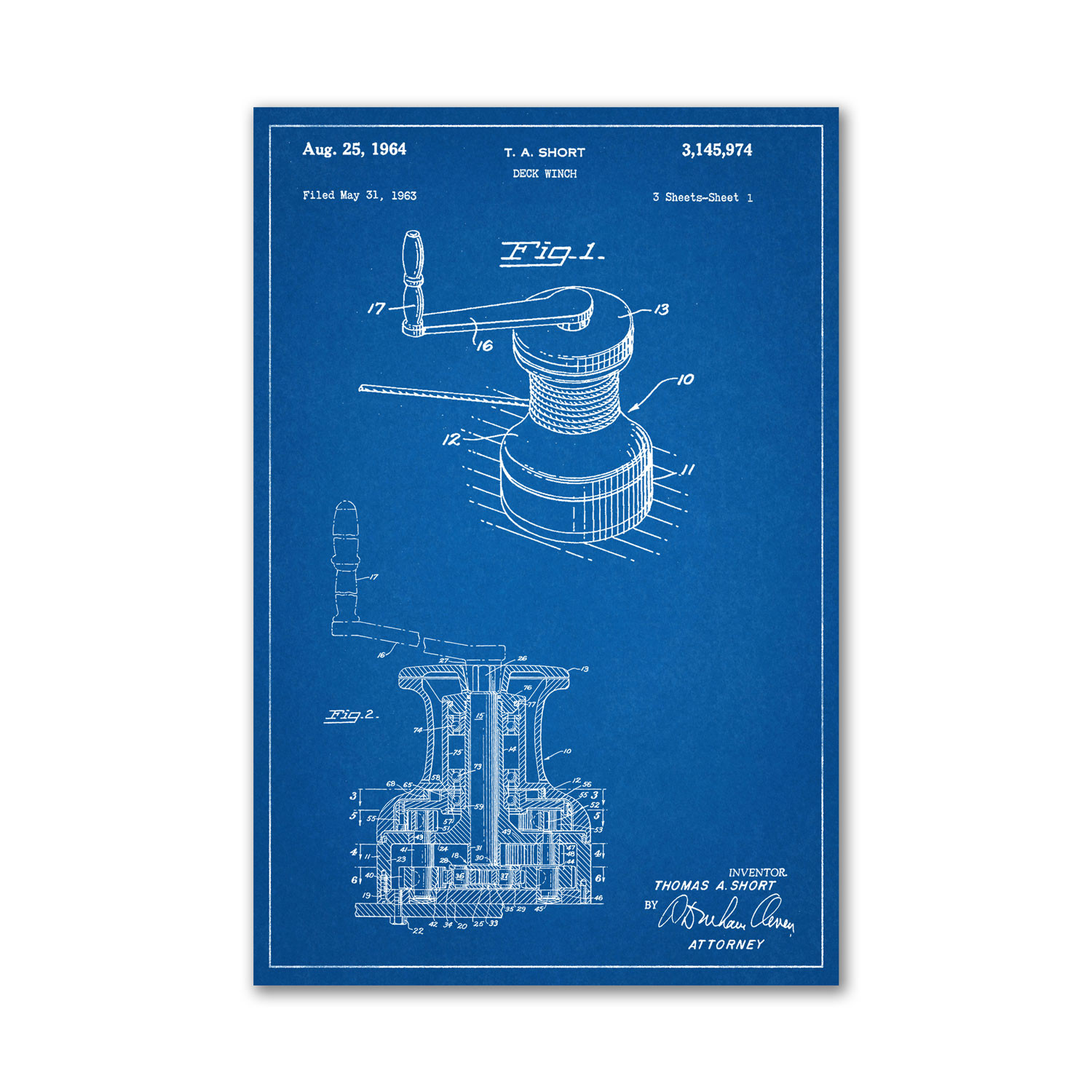 Deck Winch Blueprint Unframed 18 Quot X 24