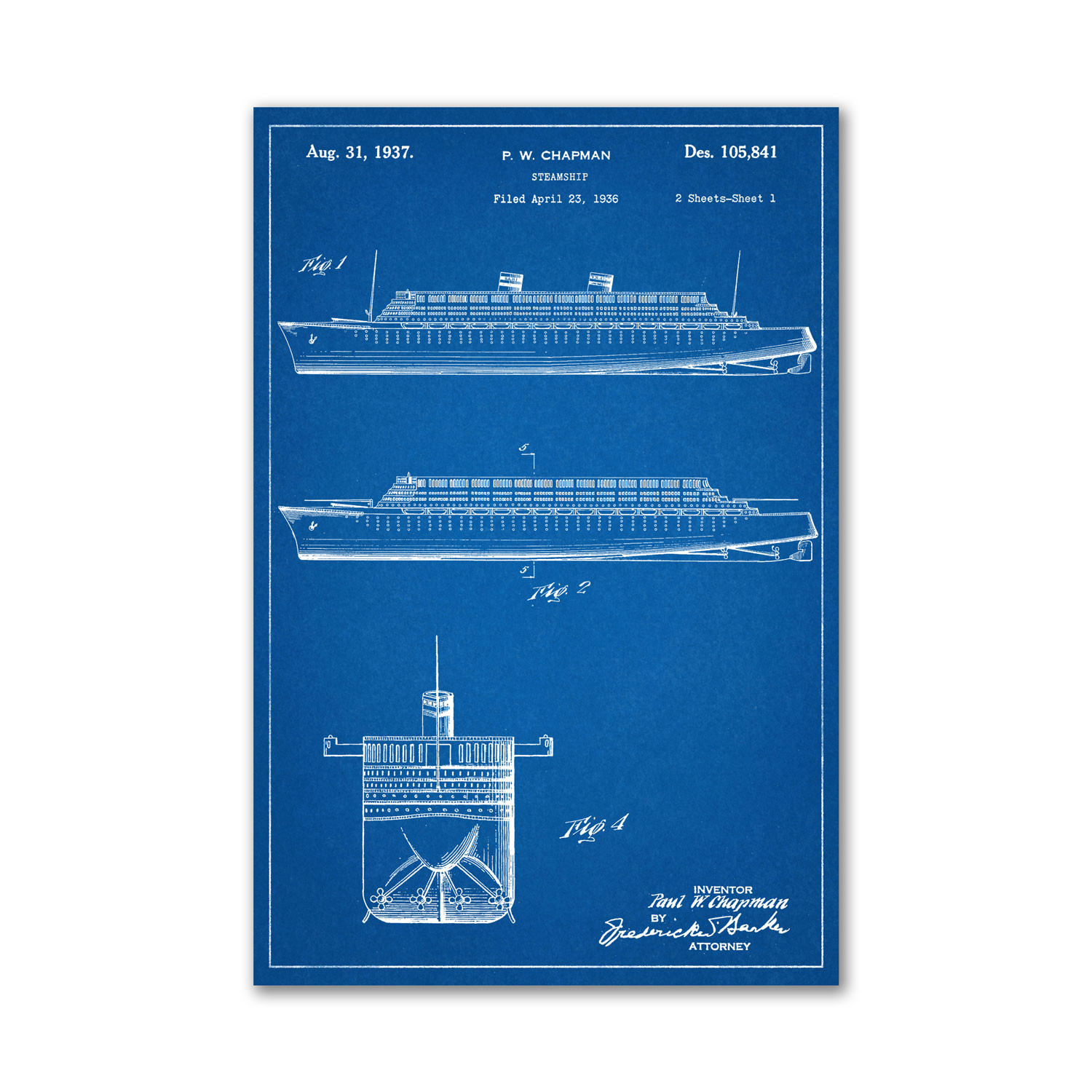 Steamship Blueprint Unframed 18 Quot X 24