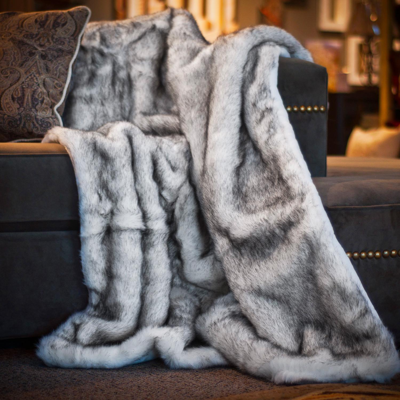 Arctic Fox Throw Blanket Black Tip Black Tip Poshpelts Touch Of Modern