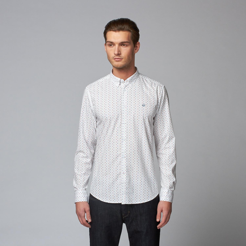 Crescent button down shirt white multi polka dot xs for Button down polka dot shirt