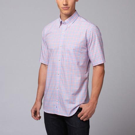 Lipah Short Sleeve Button Down Shirt // Pink + Blue (L)