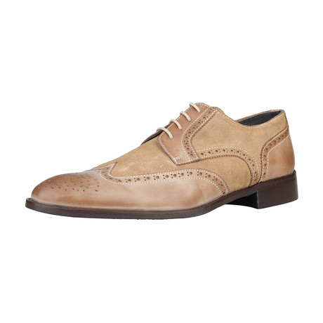 Dino Leather + Suede Brogue // Sand