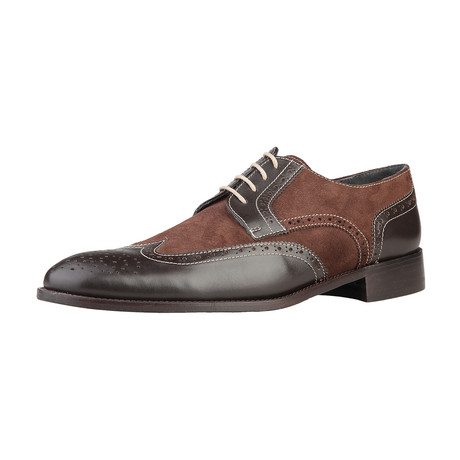 Dino Leather + Suede Brogue // Brown