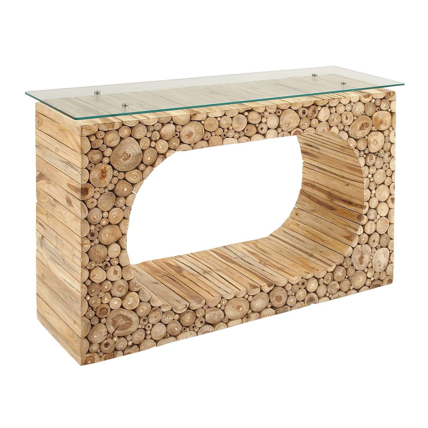 Teak console table glass universal innovative designs inc teak console table glass geotapseo Image collections