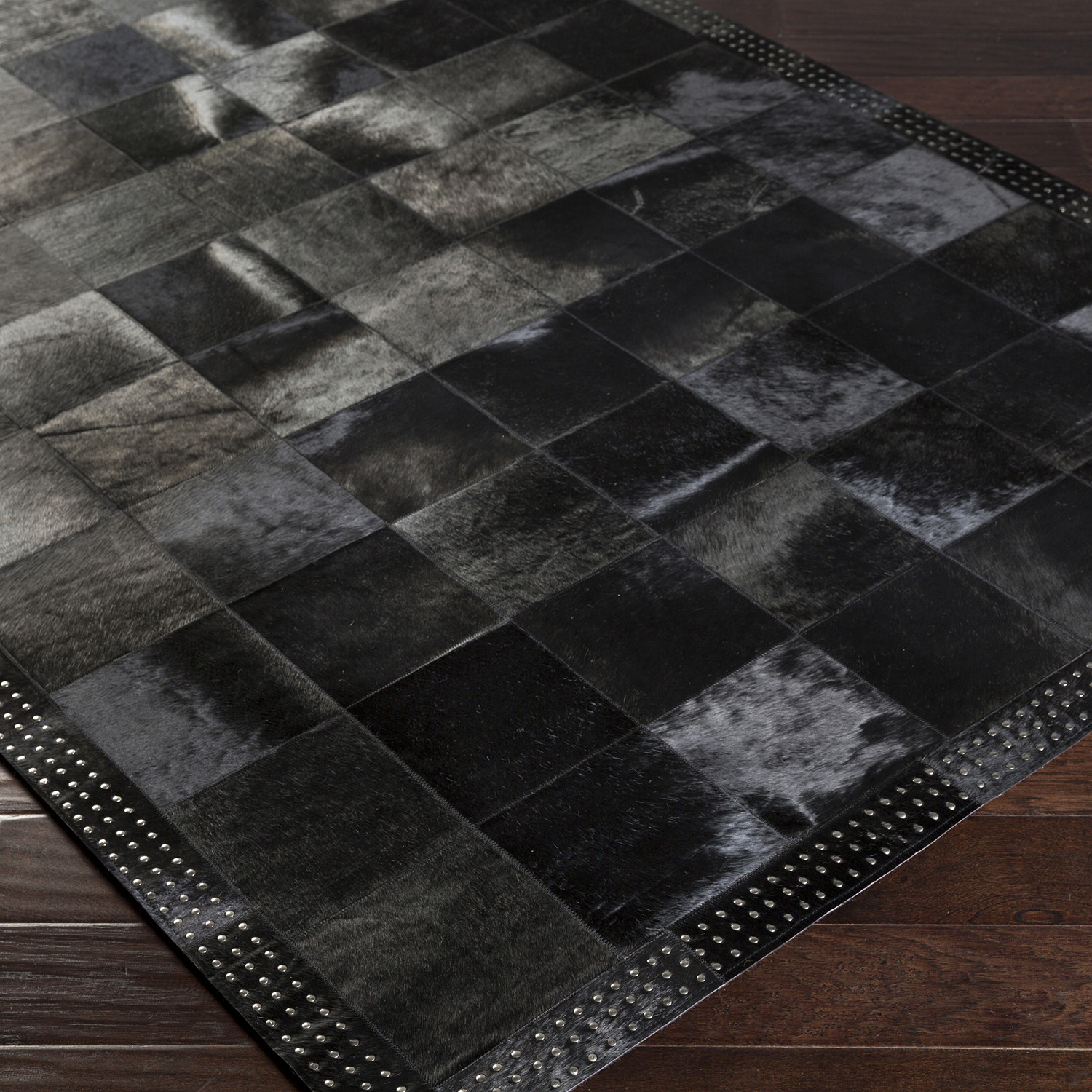Vegas Area Rug Large Squares Black 2 X