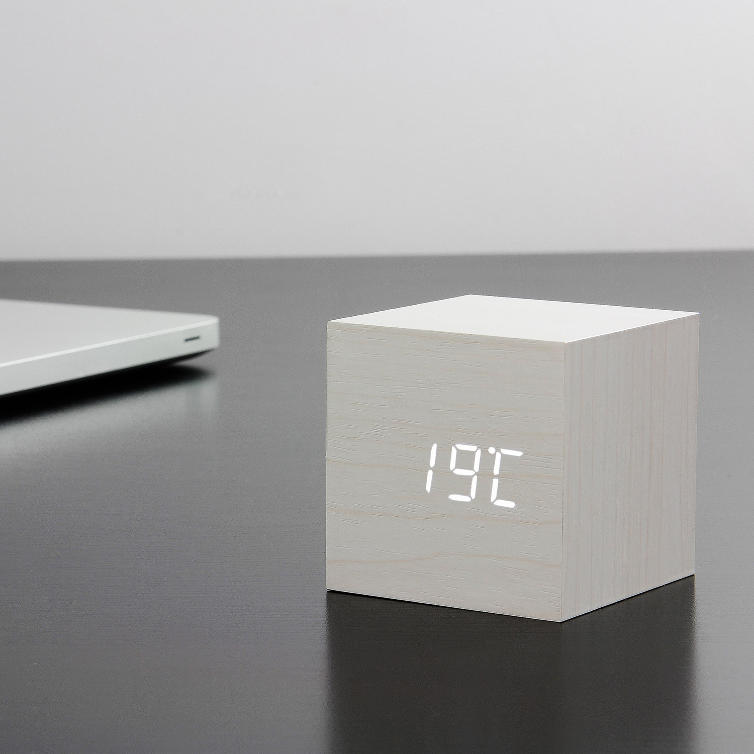 cube click clock white gingko eco touch of modern. Black Bedroom Furniture Sets. Home Design Ideas