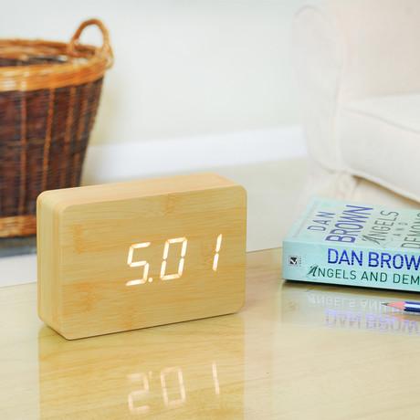 Brick Click Clock White LED // Beech