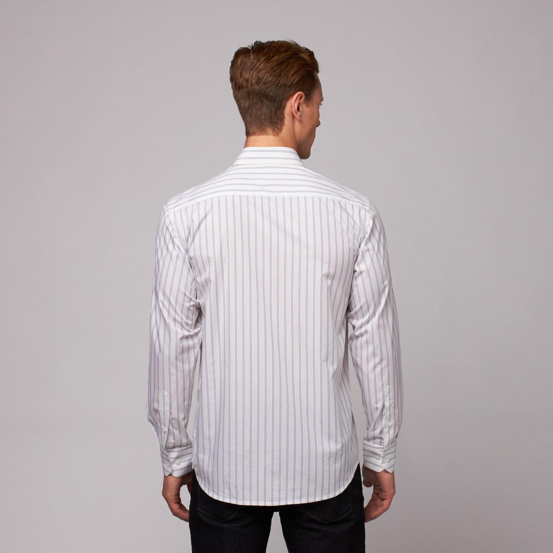Mumbai Button Up Shirt White Blue Stripe Us 15r