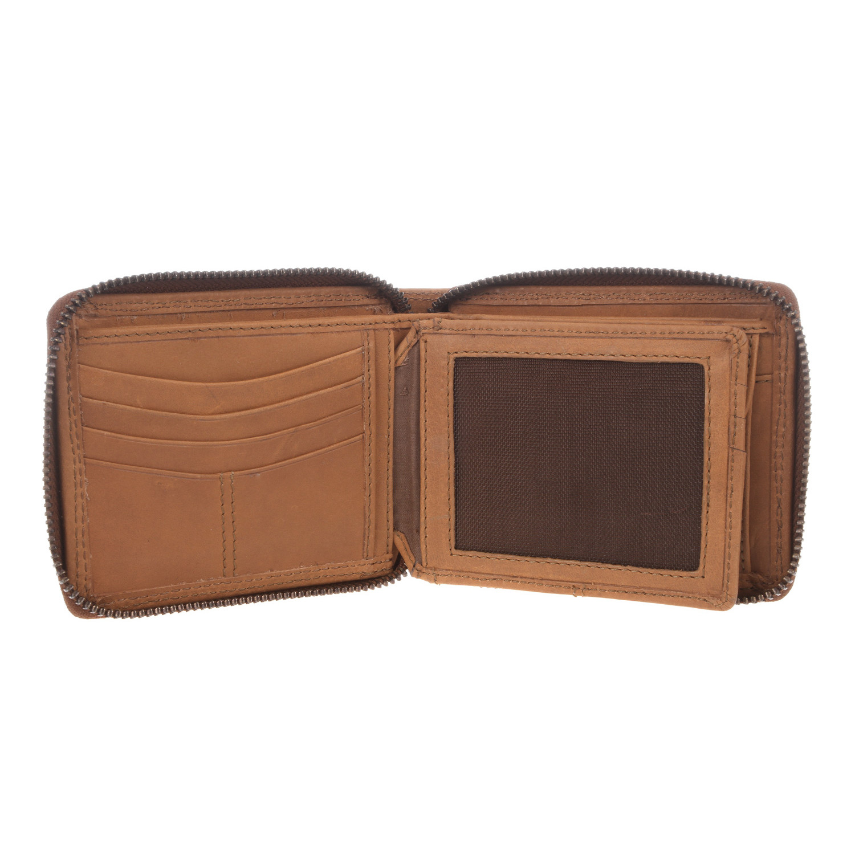 Chief Leather Zip Round Wallet Light Chestnut Conkca